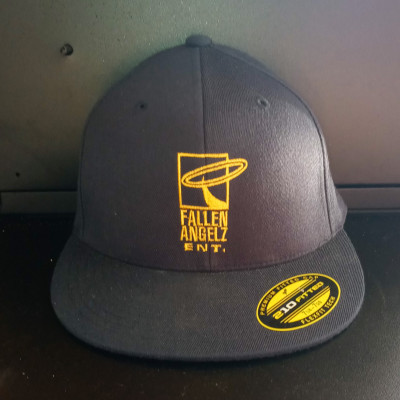 CLEARANCE - Fallen Angels ENT Navy Blue/Yellow Logo Fitted Hat 7 1/4 to 7 5/8