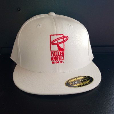 CLEARANCE - Fallen Angelz ENT White/Red Logo Fitted Hat- 7 1/4 to 7 5/8