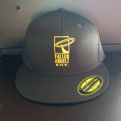 CLEARANCE - Fallen Angels ENT Black/Yellow Logo Fitted Hat 7 1/4 to 7 5/8