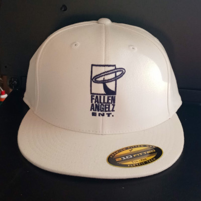 CLEARANCE - Fallen Angels ENT White/Navy Blue Logo Fitted Hat 7 1/4 to 7 5/8